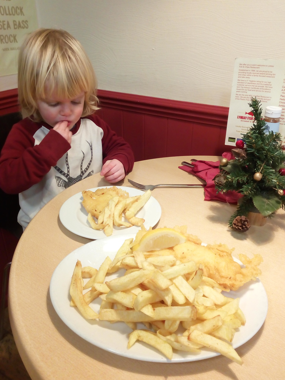 Eating gluten-free fish and chips in Ilfracombe