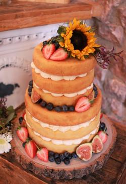 Sunflower 2 tier naked wedding cake