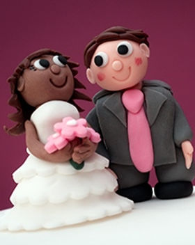Bride & groom fondant toppers