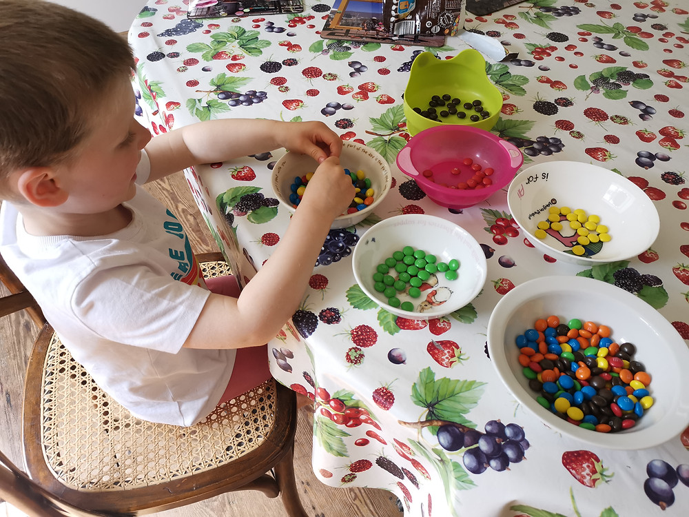 M&M chocolates being sorted into colours