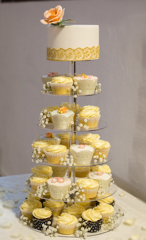 Peach rose cake & cupcake tower