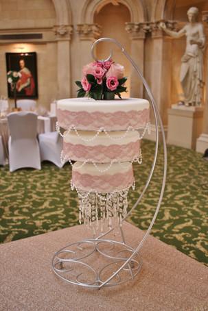 Pink rose chandelier cake