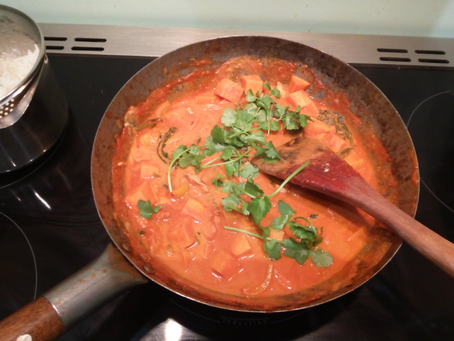 How to make sweet potato & chicken curry