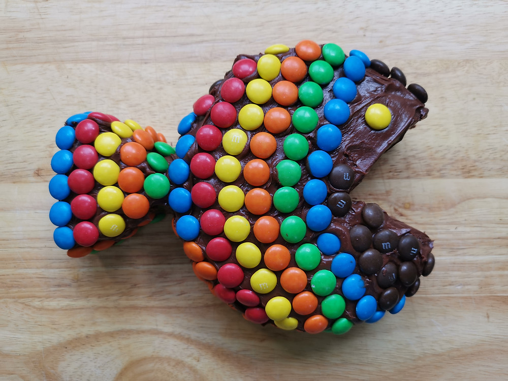 Chocolate fish cake with M&Ms