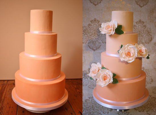 Before and after photos of a basic wedding cake transformed!