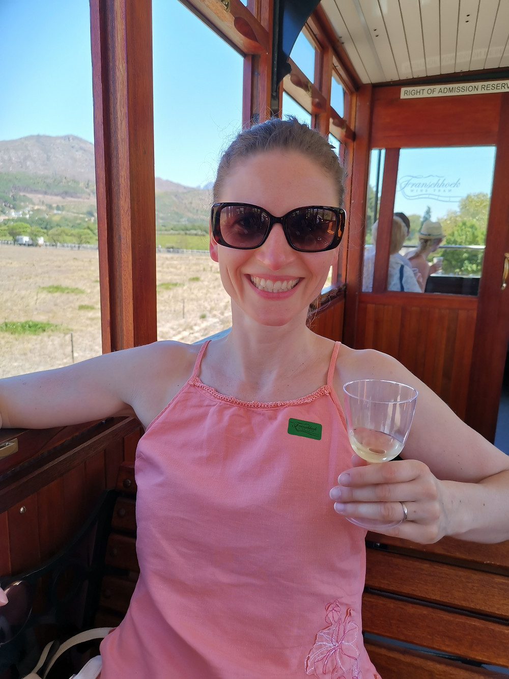 Ali Walsh with wine taster in South Africa