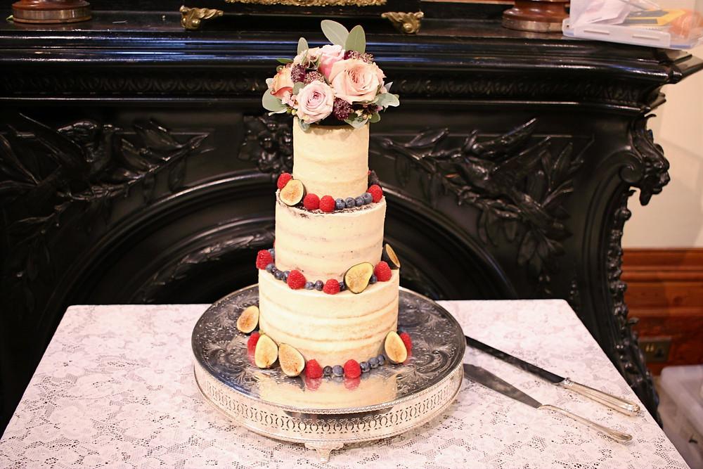 Gluten-free semi-naked wedding cake
