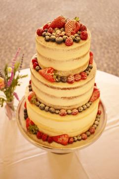 Semi-naked gluten-free wedding cake