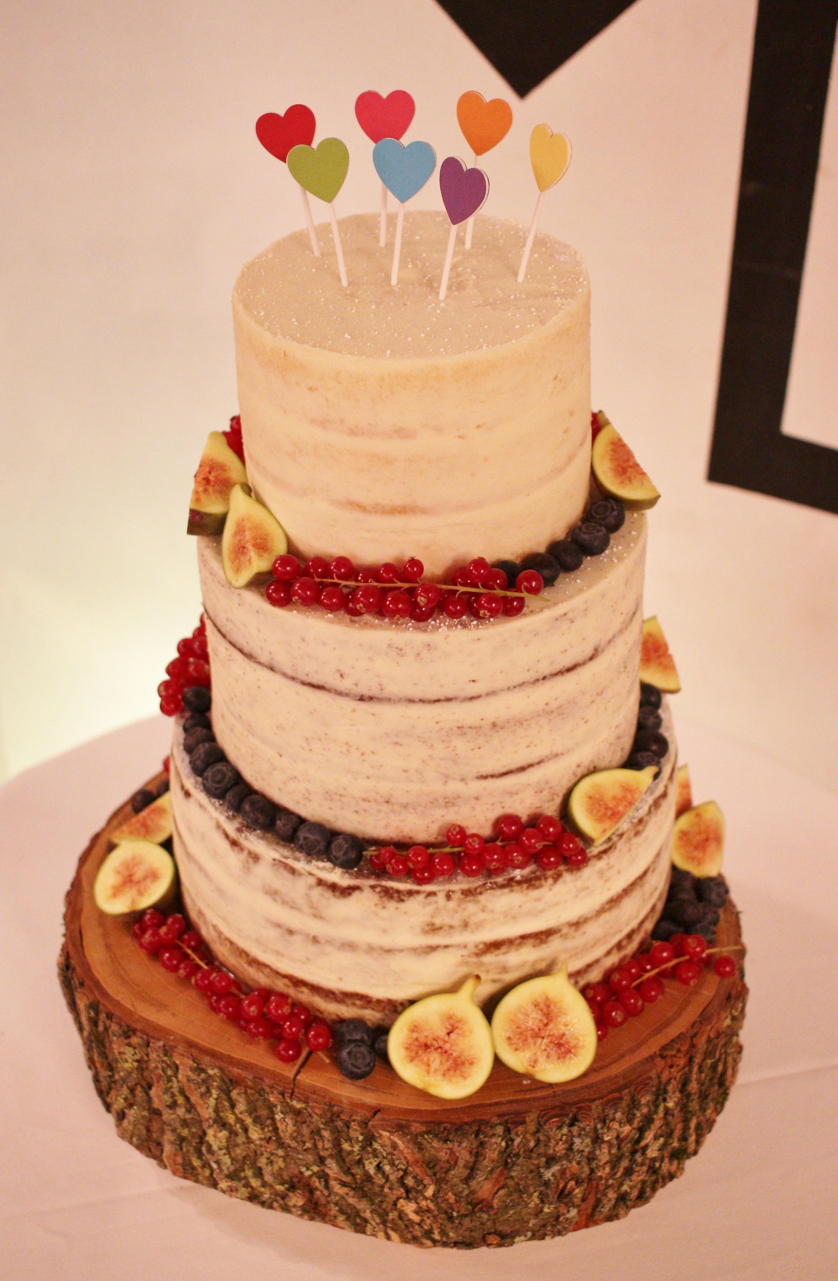 Hearts semi-naked wedding cake