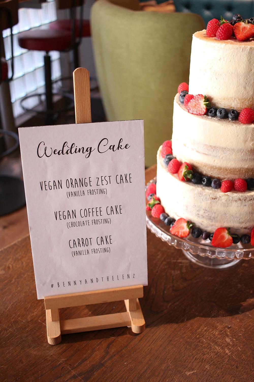 A semi-naked wedding cake for vegans