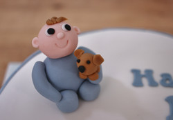 Baby topper & toy dog