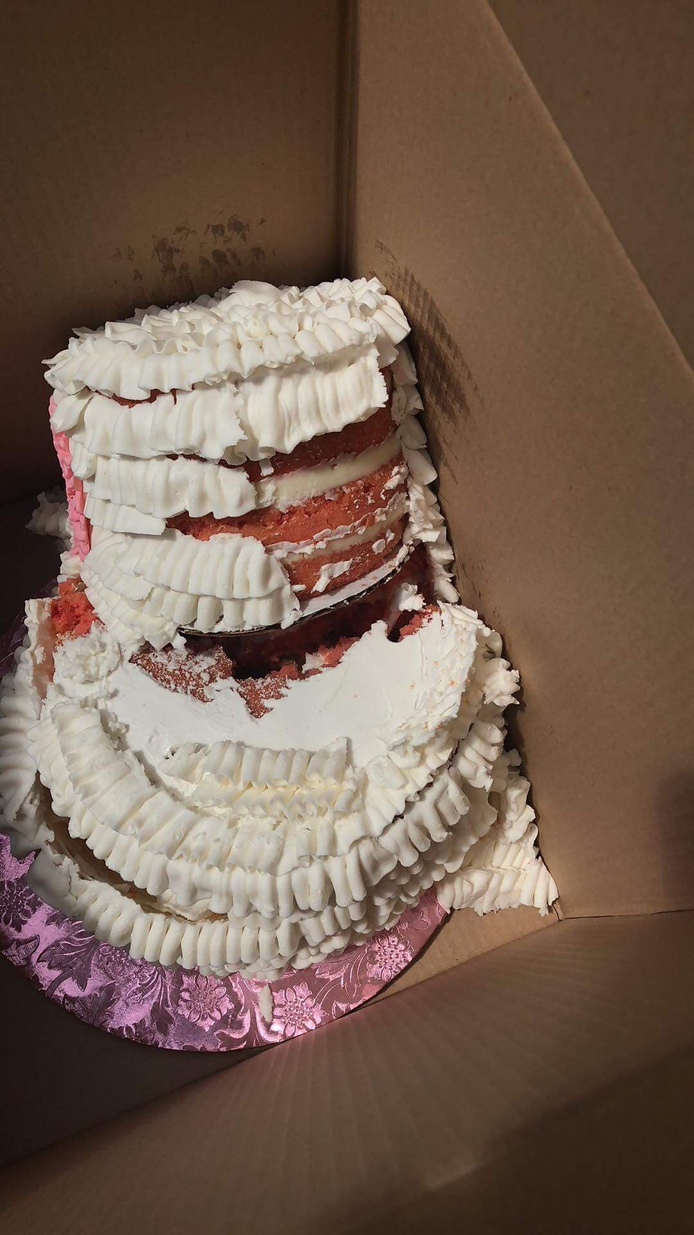Cake disaster after it was travelling in a car