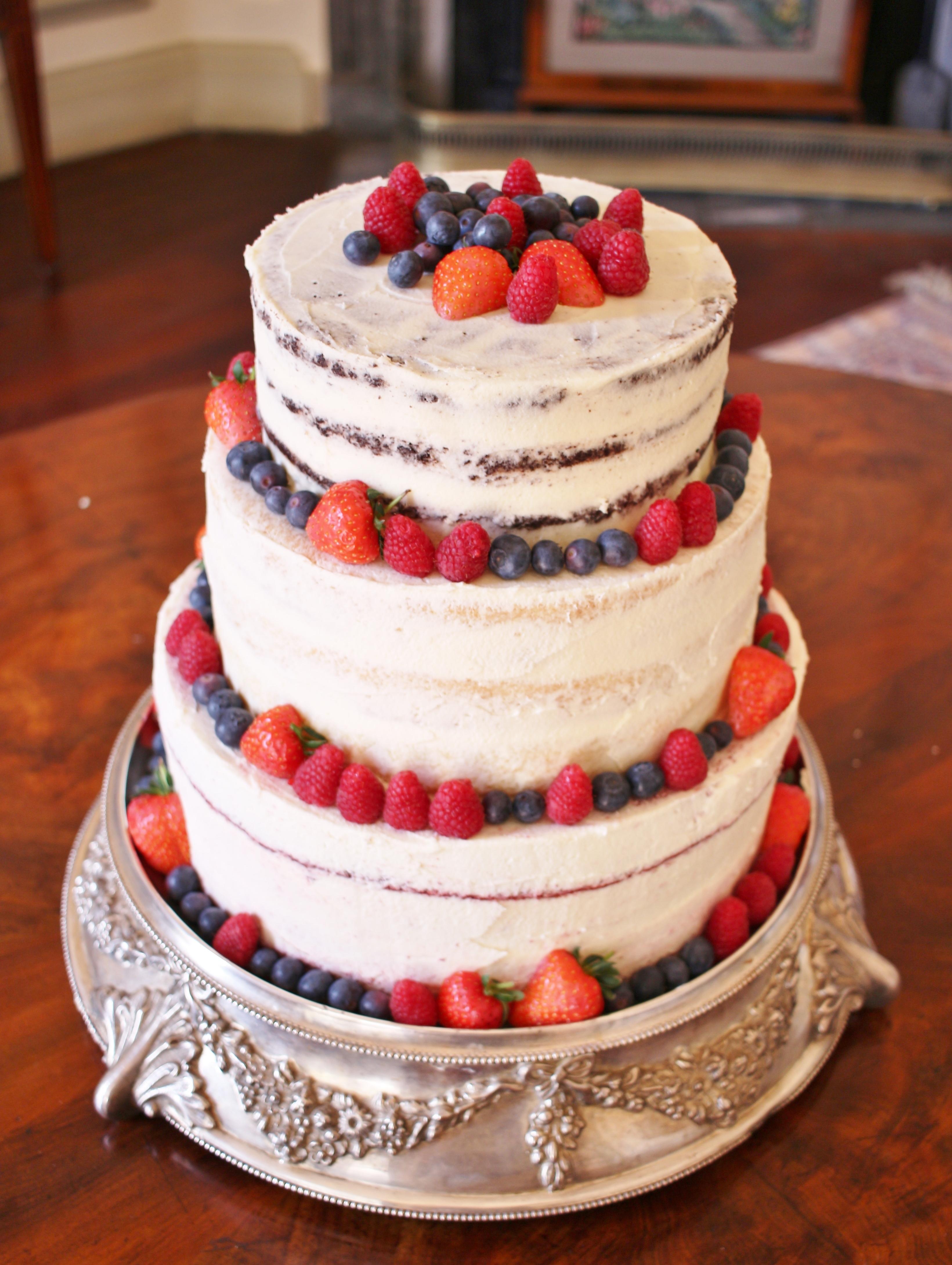 3 tier semi-naked gluten-free wedding ca