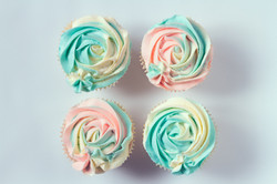 2D two-tone rose cupcakes