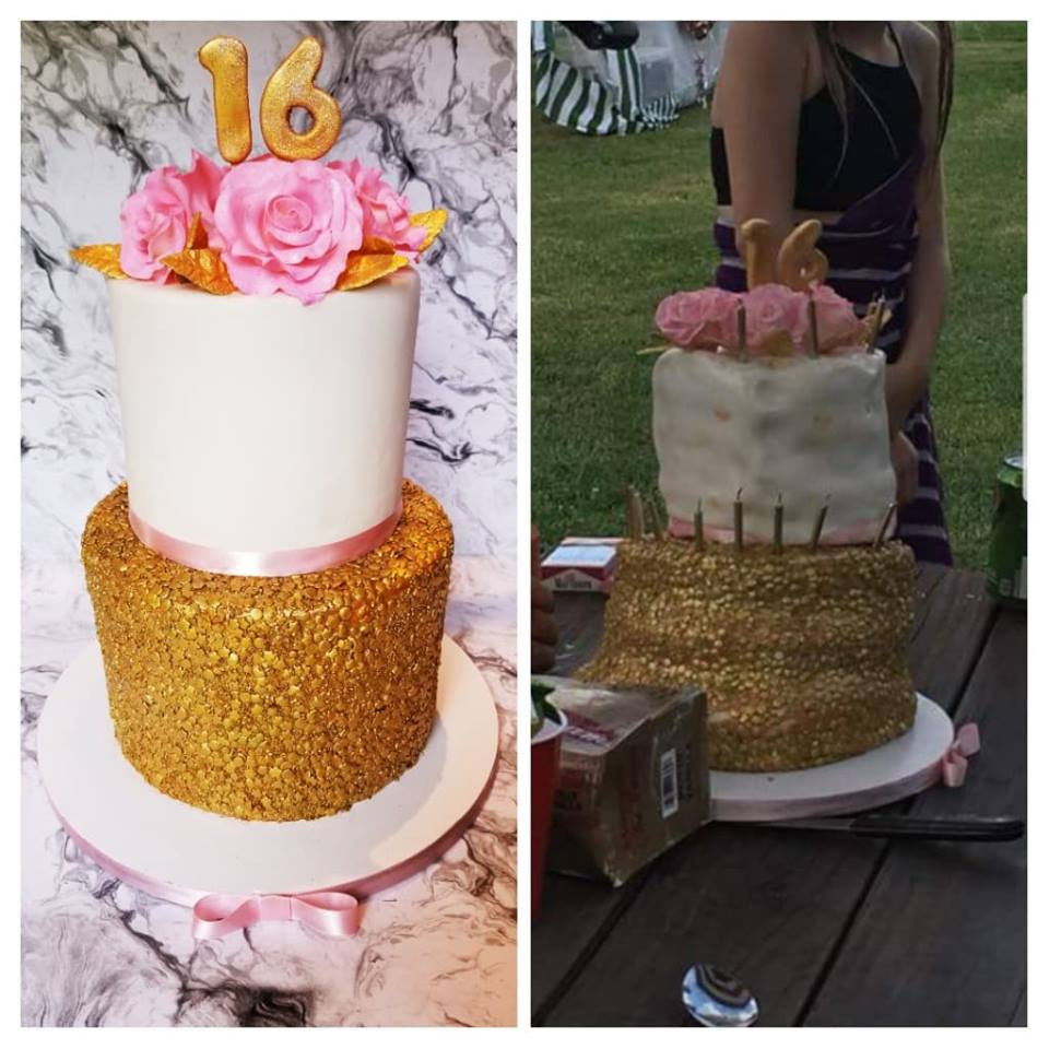 Before & after melted cake