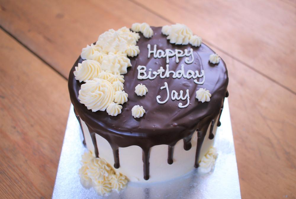 Dark chocolate gluten-free chocolate drip cake