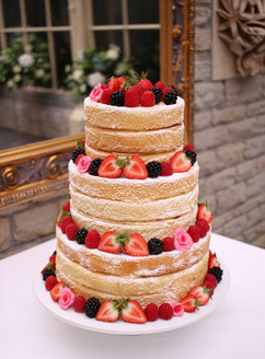 3 tier naked wedding cake with fresh fruit & sugar flowers