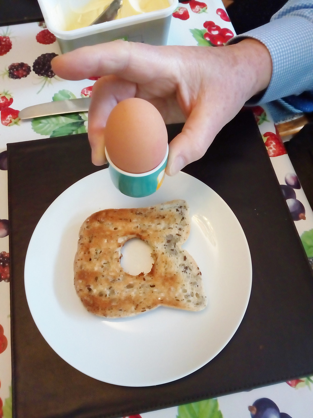 Where should the egg cup go?