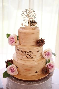 Birch tree wedding cake vegan