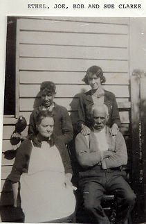 Clarke Family with pet Magpie_