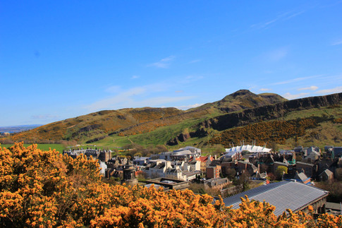 Arthur's Seat above Palace of Holyrood and Scottish Parliament