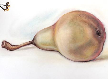 Recept na hrušku suchým pastelem