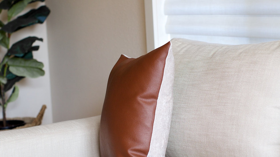 Brown Leather & Linen full cover