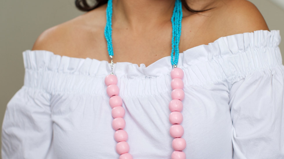 Wooden Bead Pink necklace