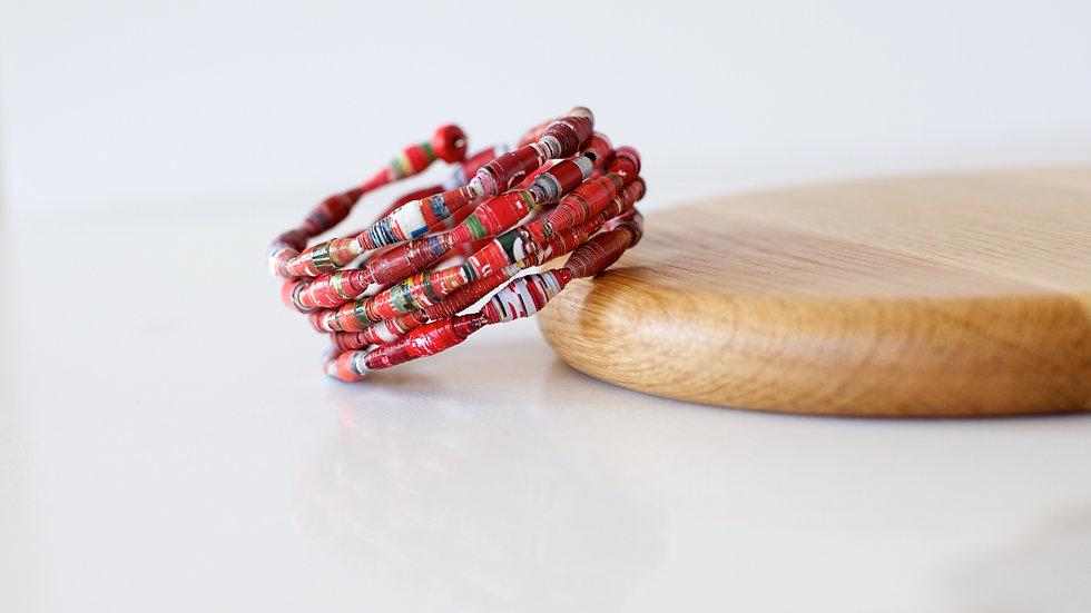 Paper Bead Cuff Red