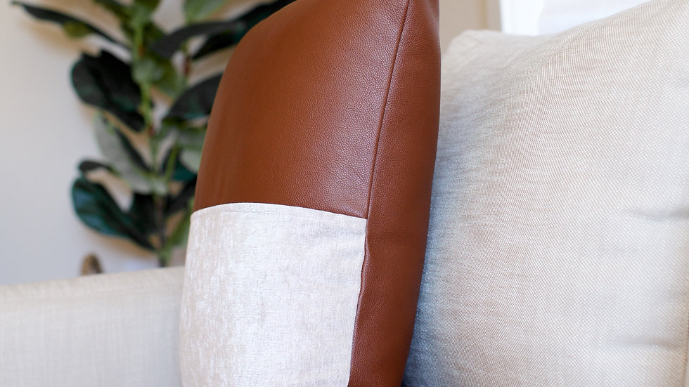 Brown Leather & Linen half cover