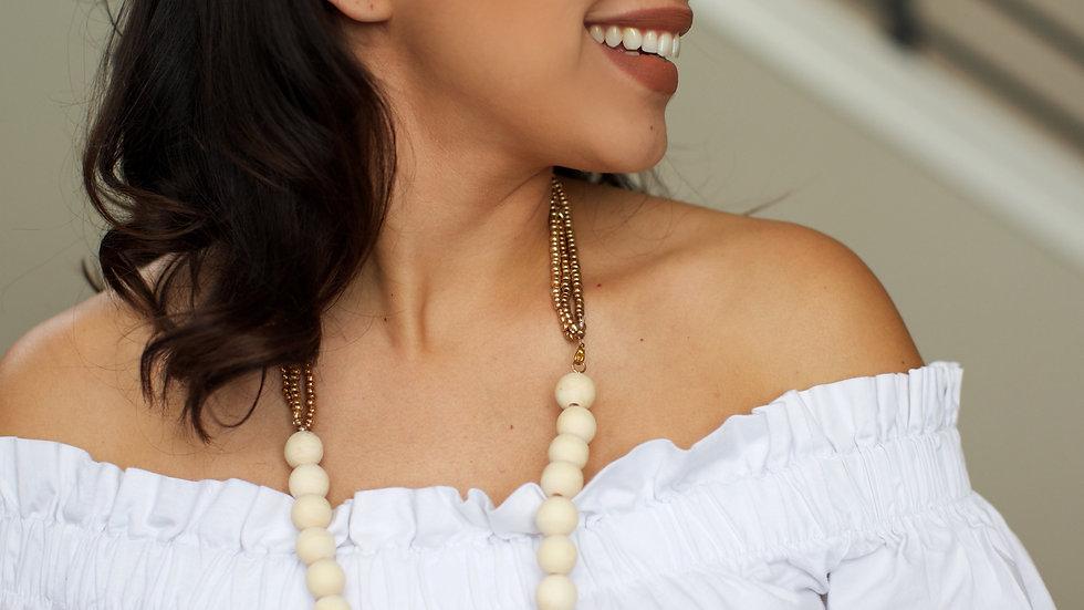 Wooden Bead Beige necklace