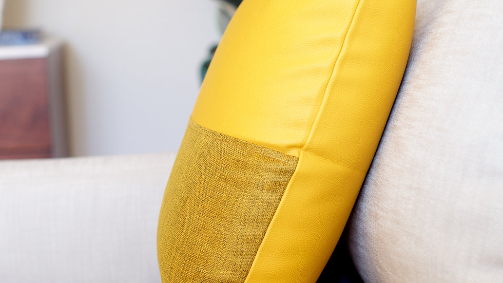 Mustard Leather & Linen half cover
