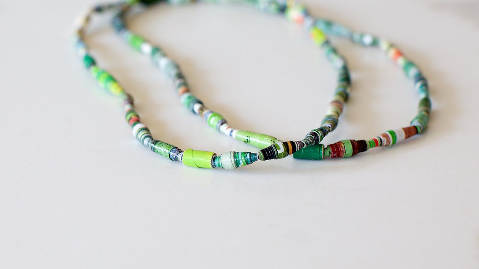 Paper Bead Single Layer Necklace Green