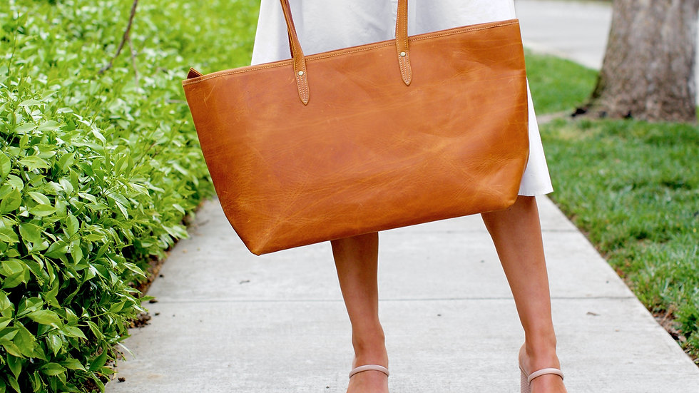 Oversized Genuine Leather Tote Natural