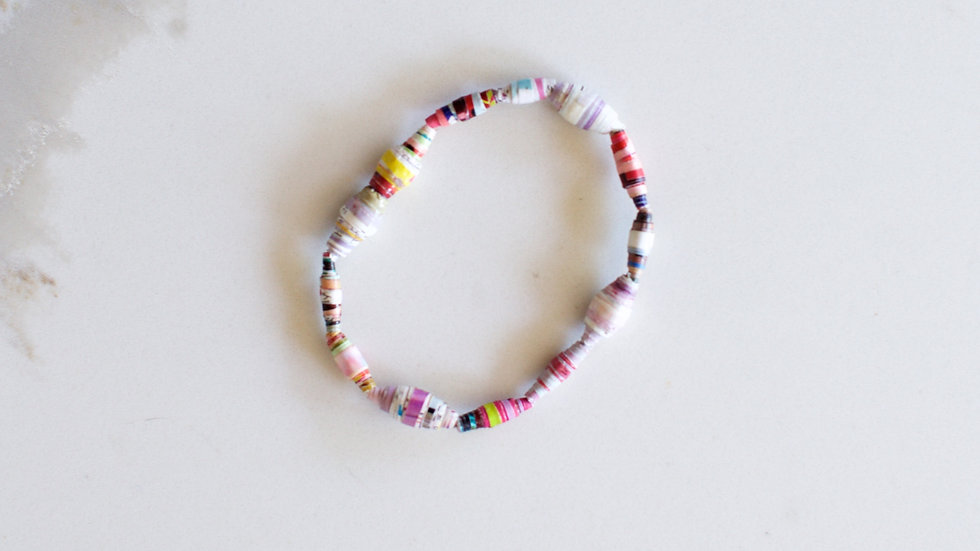 Paper Bead Single Layer Bracelet Pink