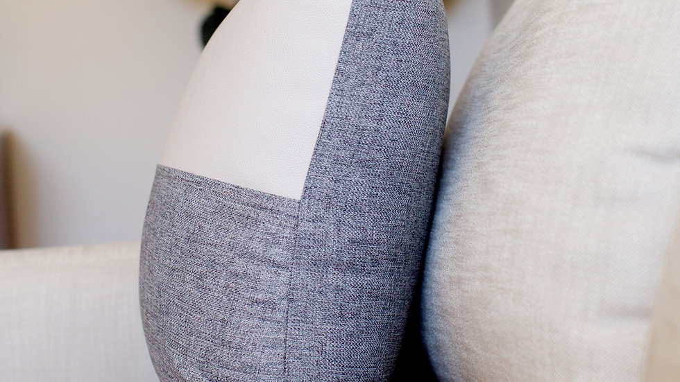 Grey Leather & Linen half cover