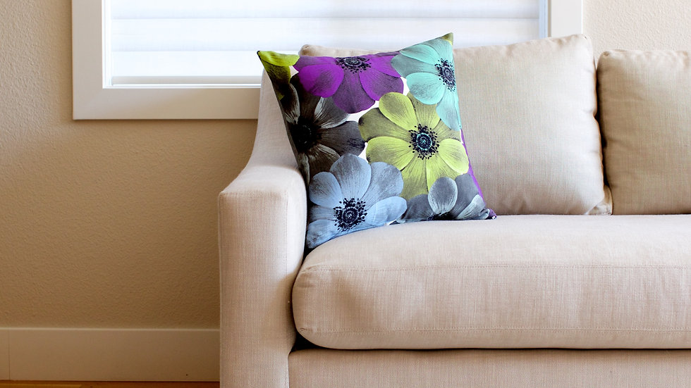 Purple & green flower floral double sided
