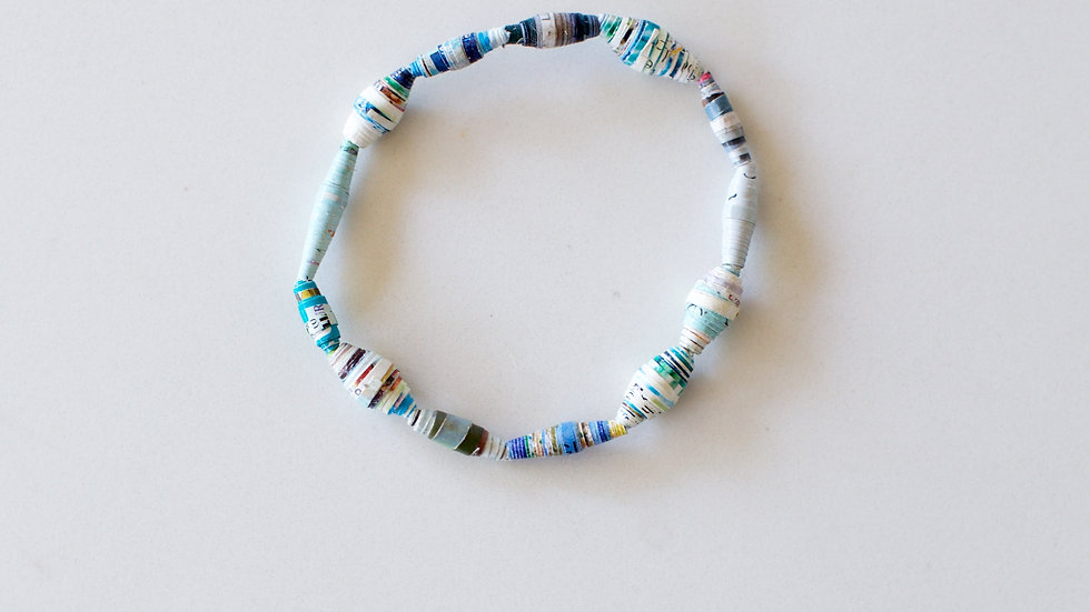Paper Bead Single Layer Bracelet Blue
