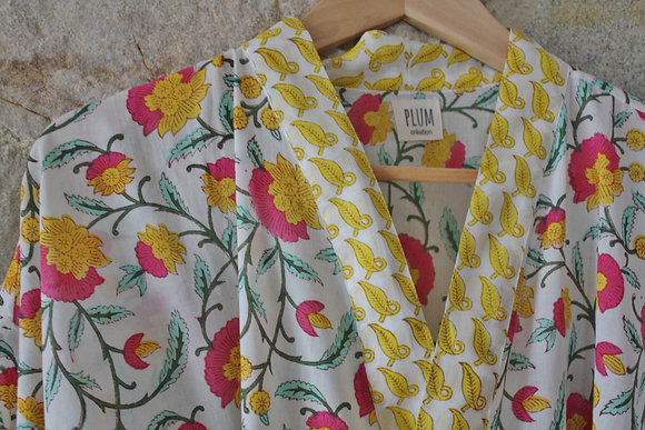 kimono jaune et rose