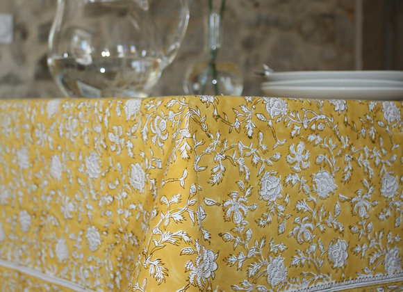nappe Capucine - Lychen | tablecloth in Yellow blockprint