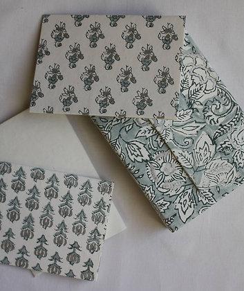 coffret de cartes de correspondance gris et argenté