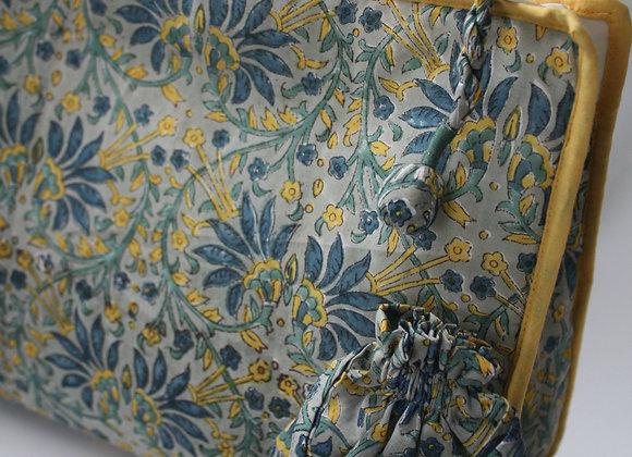 trousse de toilette tissu indien bleu jaune