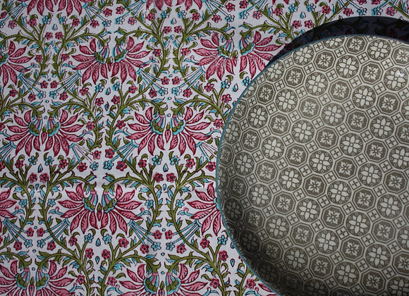 nappe Printemps   tablecloth in Pink and Green blockprint
