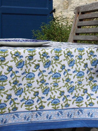 nappe Udaipur | tablecloth in Blue and Green blockprint
