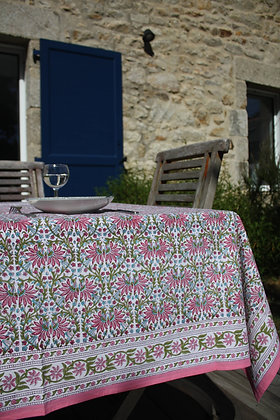 nappe Printemps | tablecloth in Pink and Green blockprint