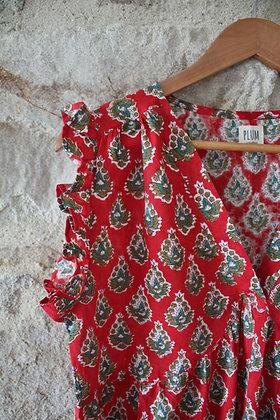 robe longue bohème rouge