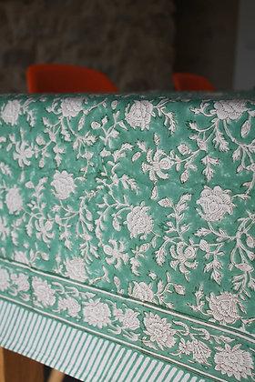 nappe Capucine - Emeraude | tablecloth in Emerald Green blockprint