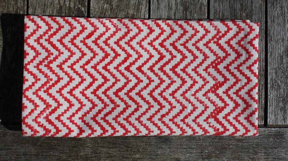 serviette de table ZigZag Rouge corail