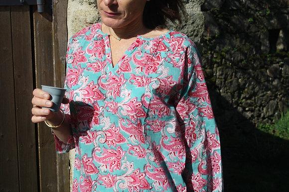 blouse rose en voile de coton indien