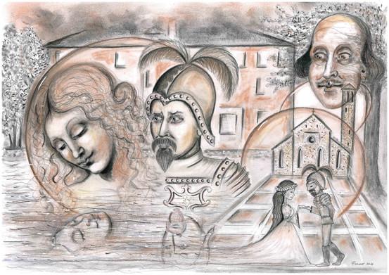 Schets van Luigi, Lucina, Shakespeare en Piazza Venerio
